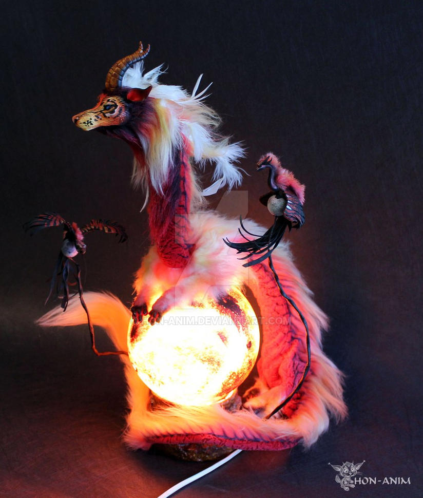 Dragon the Mars Guardian Lamp Bedside by hon-anim