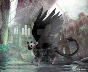 Trico, Last Guardian, with big dark wings