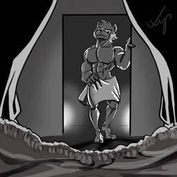 Muscular Gay Furry Bathroom Sauna by kyshelton