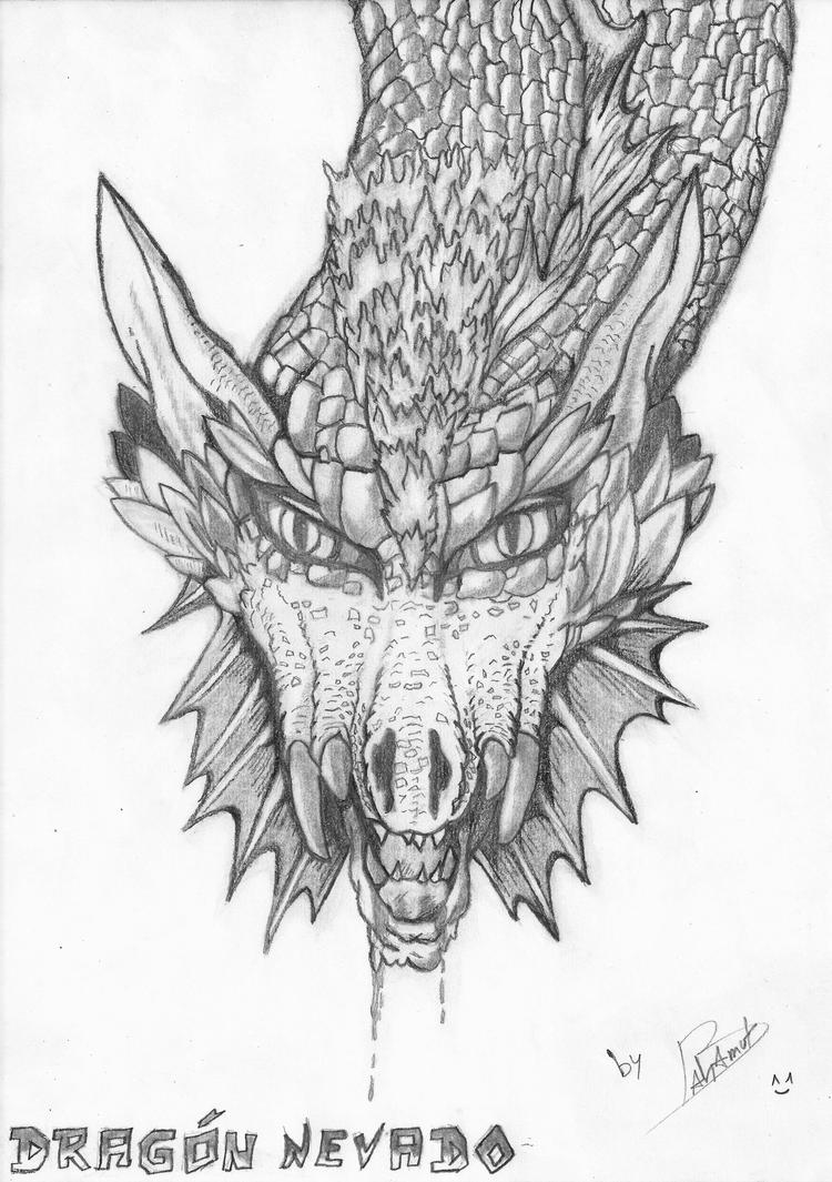 Snowcapped Dragon - Pencil by Bahamut2