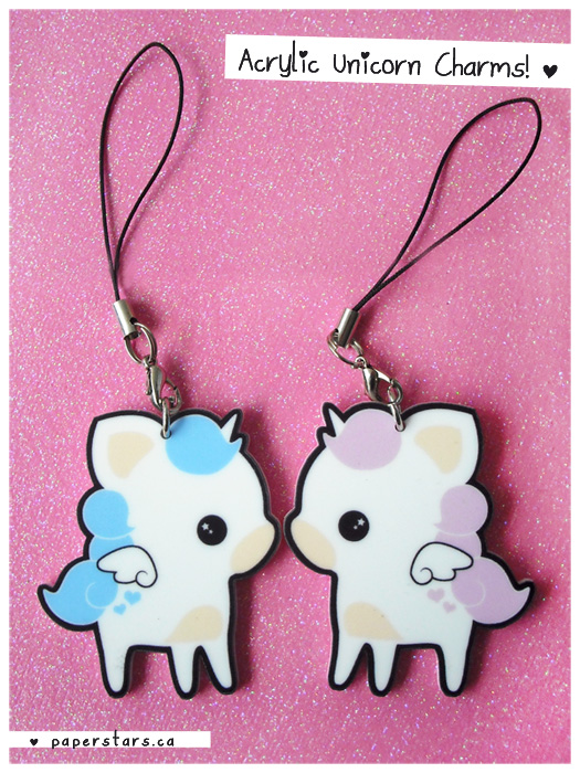 Acrylic Unicorn Charms by littlepaperforest