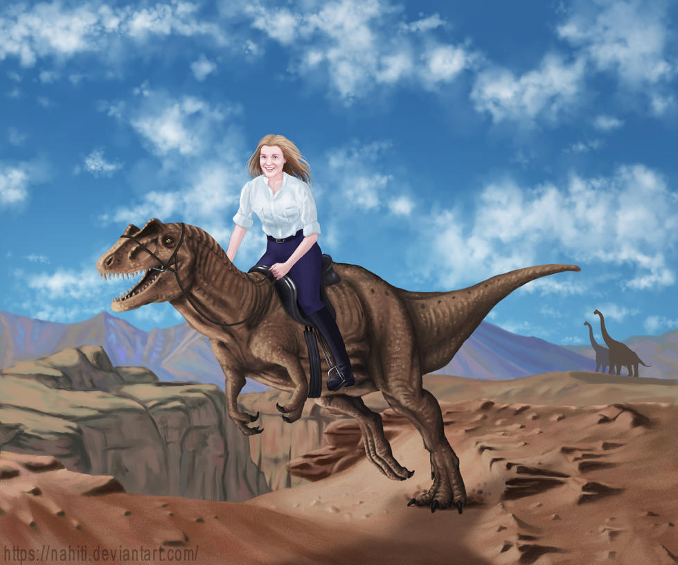 My Sister on a Dinosaur by nahiti