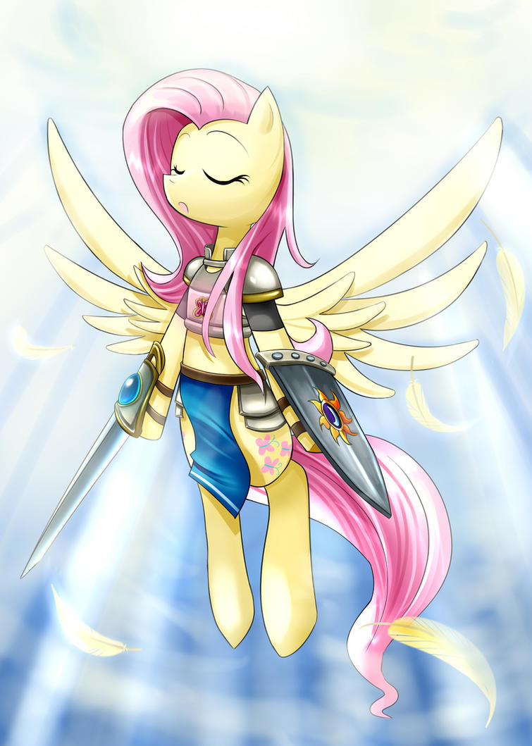 fluttershy, the angelic guardian by roshichen