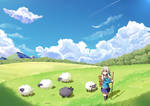 Sheep Herding in Summer time by roshichen
