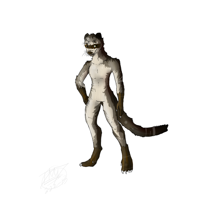 ferret furry anthro for zombie by roomsinthewalls on