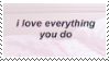 f2u - I love everything you do stamp
