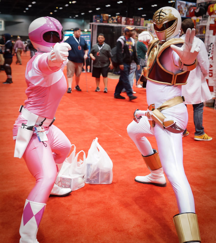 C2E2 Pink Ranger and White Ranger by SirKirkules