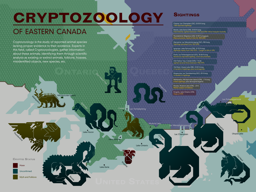 Cryptozoology In Canada An Illustrated Map By The Greatest Mystery