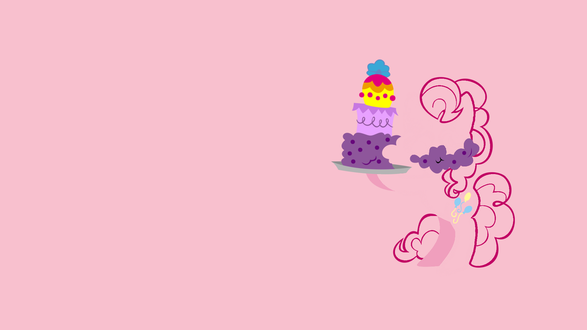 Pinkie Pie Eating Cake Minimalist Wallpaper By CHOCLatier07