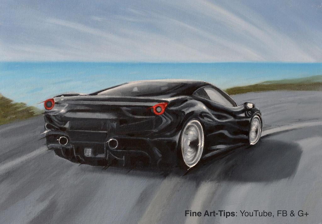 How to Paint a Ferrari 488 Black - With Oil Paints by ArtistLeonardo