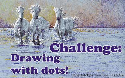 Challenge: Drawing horses - Pointillism by ArtistLeonardo