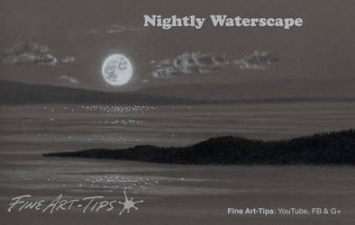 How to Draw a Night Waterscape With the Moon by ArtistLeonardo