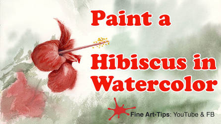 How to Paint a Red Hibiscus in Watercolor by ArtistLeonardo