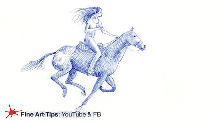 HOW TO DRAW A WOMAN ON A TROTTING HORSE - Pen