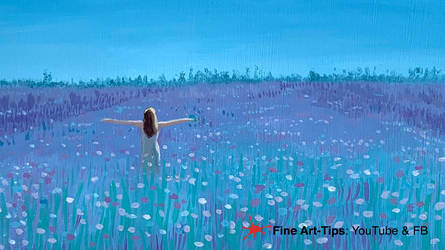 HOW TO PAINT A FIELD WITH FLOWERS IN ACRYLICS