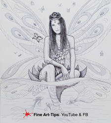 HOW TO DRAW A FAIRY WITH INK - Fantasy Fountain
