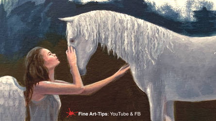 HOW TO PAINT A HORSE AND ANGEL SKETCH IN OIL