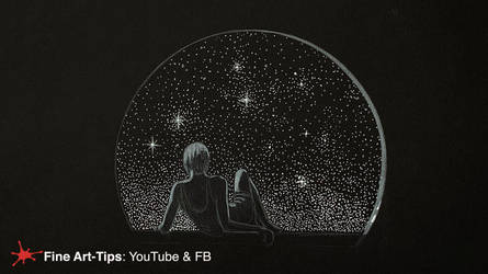 HOW TO DRAW A WOMAN WATCHING STARS - W/B