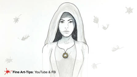 HOW TO DRAW A HOODED WOMAN, WITH INK