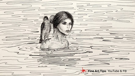 DRAWING A WOMAN and FALCON ON WATER - WITH INK