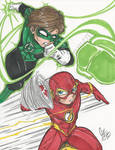 Earth 42 Green Lantern and Flash commission