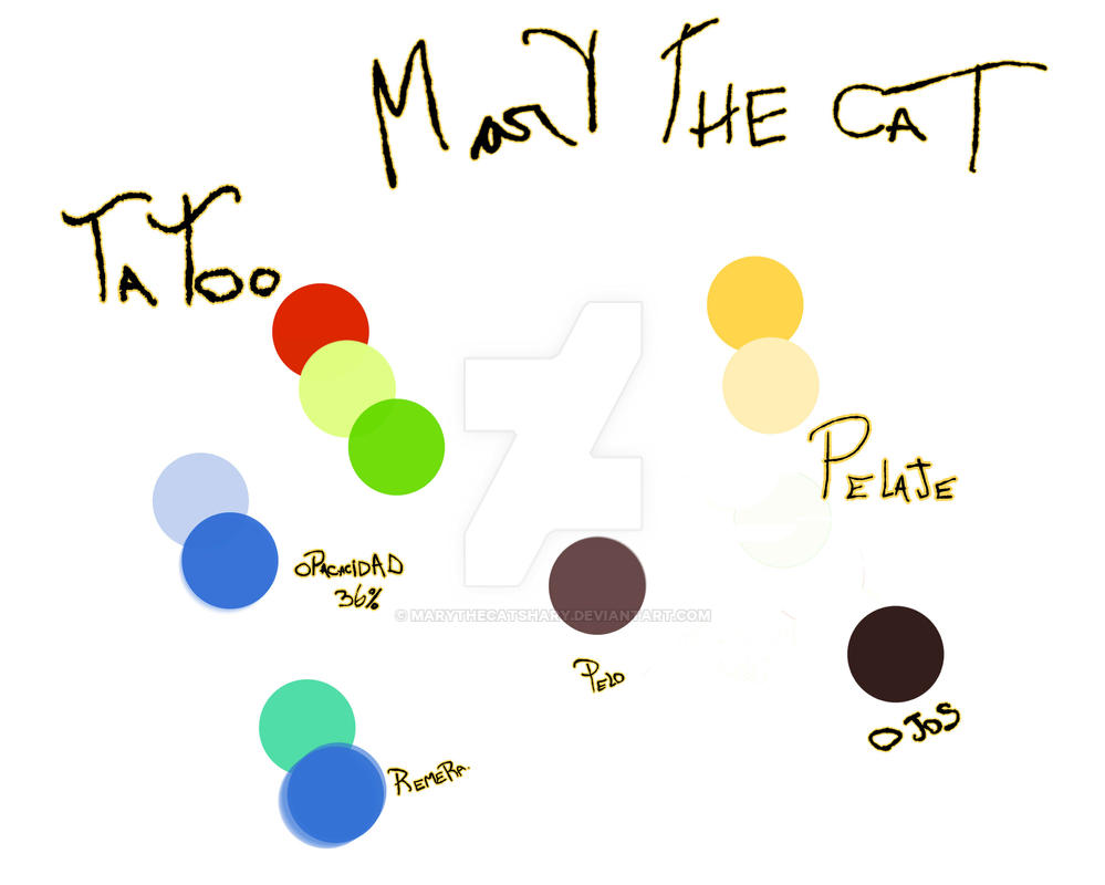 paleta de colores de Mary The Cat new by MaryTheCatShary
