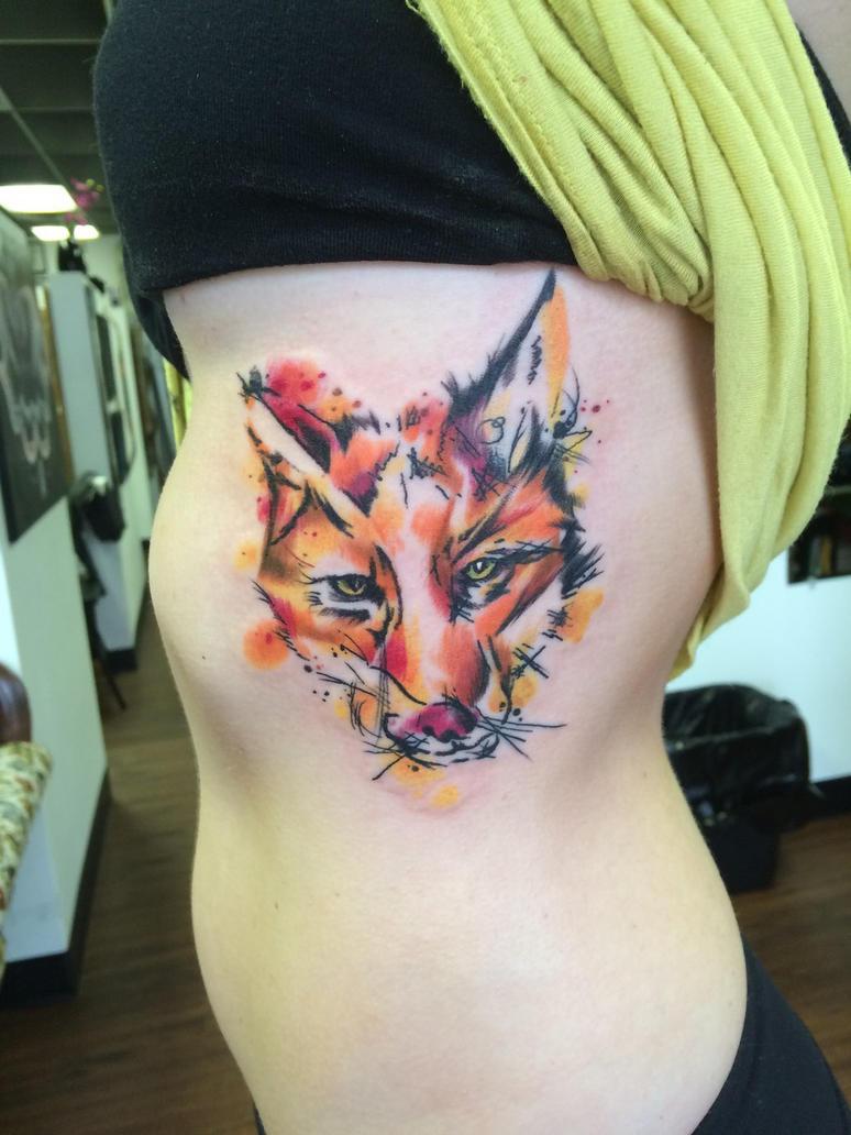 Water colour fox  by oldschool-sinner