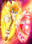 Super Sonic and Burning Blaze Fanart  Sonic Rush