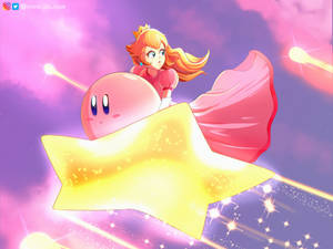 Kirby saving Peach (Smash bros fan art)
