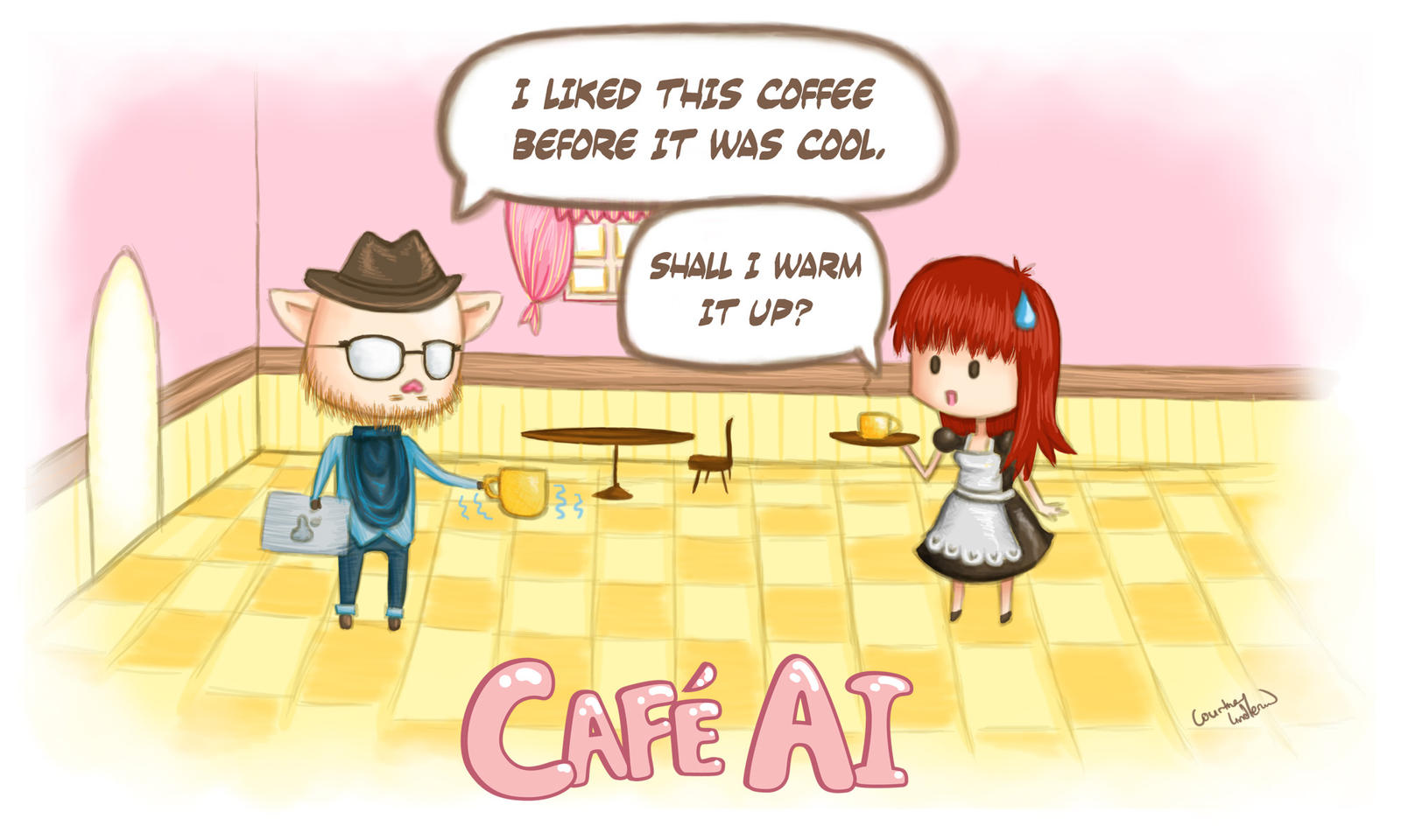 Cafe AI : Hipster Buu-Chan Does Coffee by Zodiac-Salad