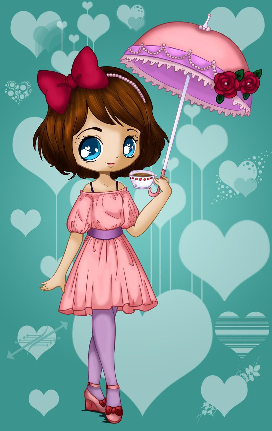 umbrella girl coloured by Hotaru-oz