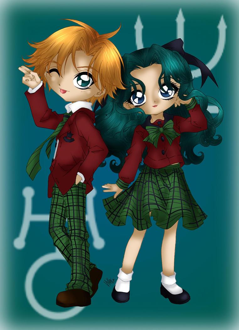 Haruka and Michiru coloured by Hotaru-oz