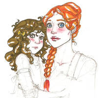 Mother and daughter by hedgehog-in-snow