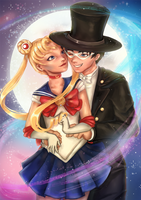 Sailor Moon and Tuxedo Mask by Lindrox