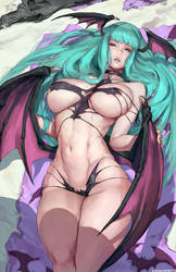 Beach Morrigan by cutesexyrobutts