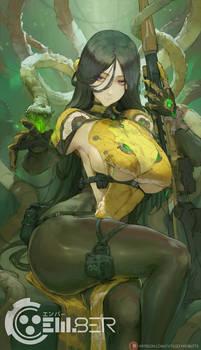 em8er character concept - toxic sniper lady