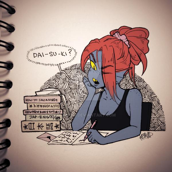 Day 4. Undyne + Spell [Inktober] by elleap