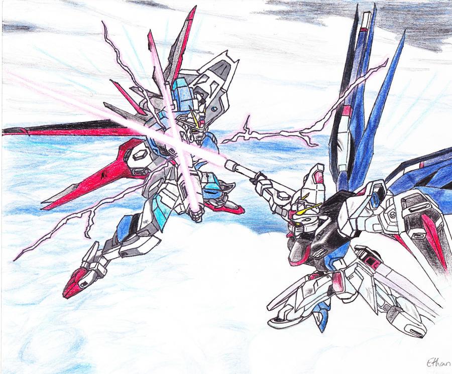 Freedom Gundam vs. Force Impulse Gundam by ...