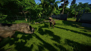 Trex And Carnotaurus Fight View 2