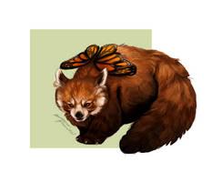 Red panda: butterfly by MarkotnePierniki