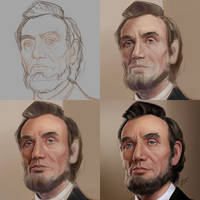 Portrait drawing process: Lincoln