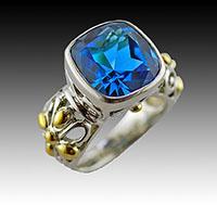 Sterling Silver 18K Blue Topaz by vincecraft