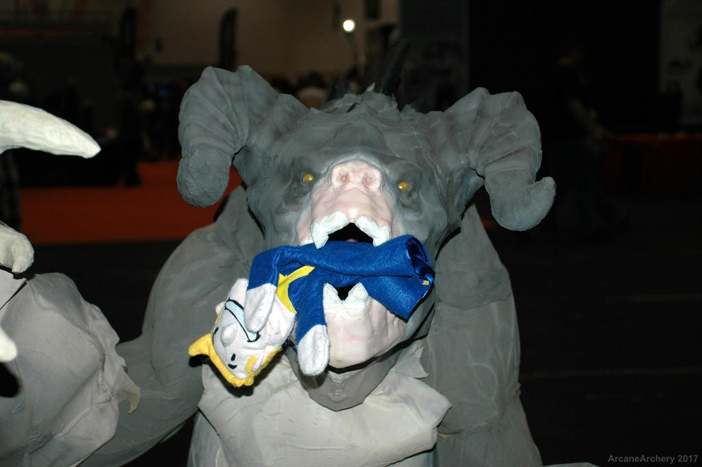 Deathclaw eating Vault boy puppet - close up
