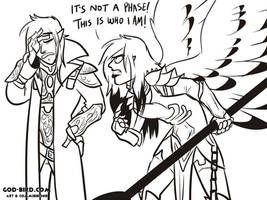 It's not a phase, dad! by godbirdart