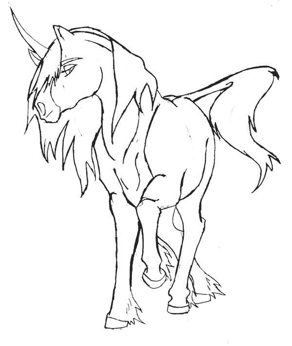 Unicorn Lineart : Prancing unicorn mare lineart by sakura on deviantart
