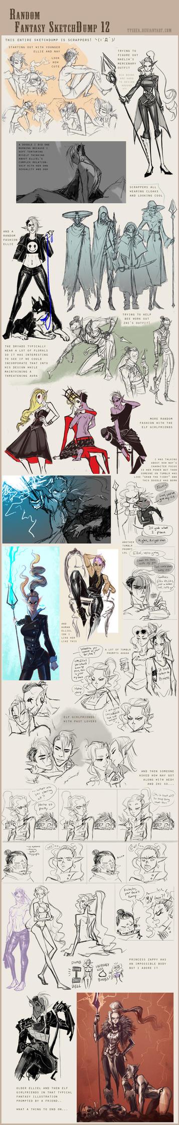 Fantasy Sketchdump 12 by Dyemelikeasunset