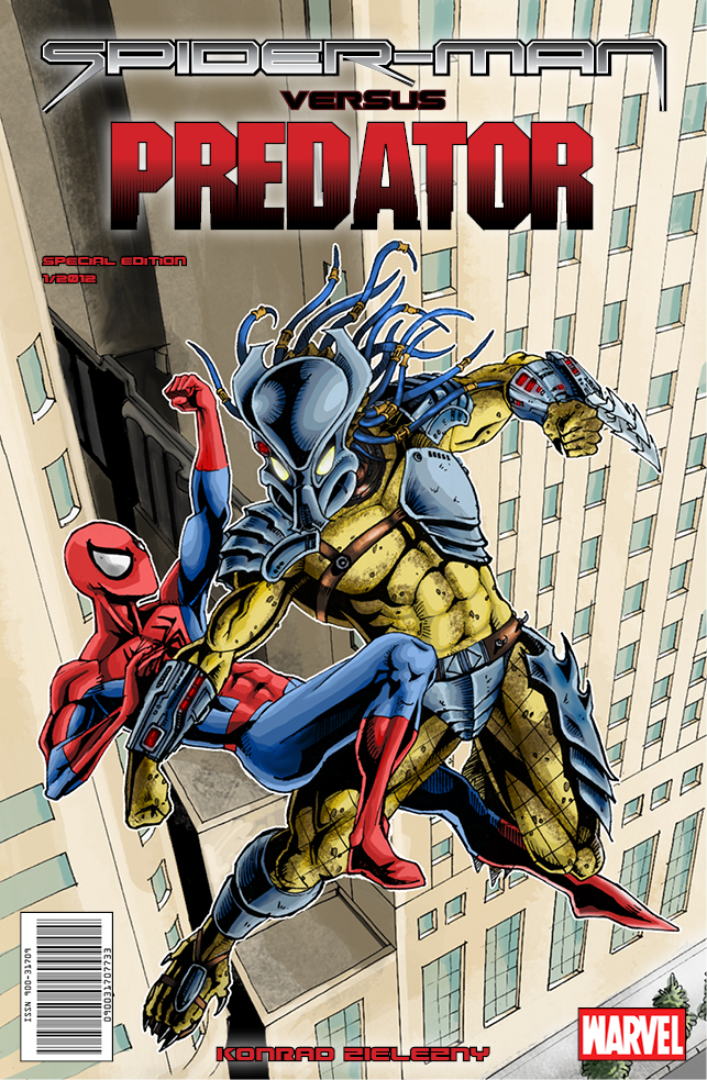 Spider-man vs. Predator cover by cm023 on DeviantArt