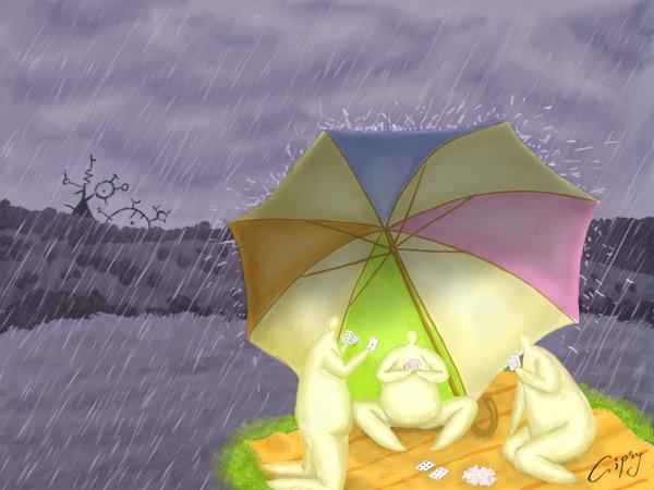 Under an umbrella by hellgus