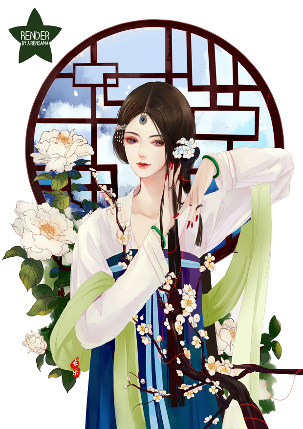 39 Renders Mangas fleuris  Chinese_girl_by_airensama-d8hs9g3