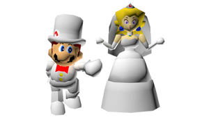 Wedding Mario and Peach in Super Mario 64 Style by StupidMarioBros1Fan